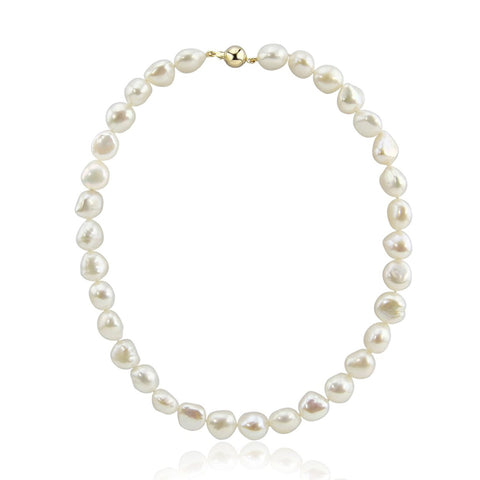 14K Yellow Gold 11.0-13.0mm Extra Luster White Baroque Freshwater Cultured Pearl necklace 18""
