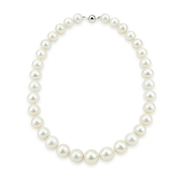 14K White Gold 11-14mm White Freshwater Cultured Pearl Necklace 20 Inches