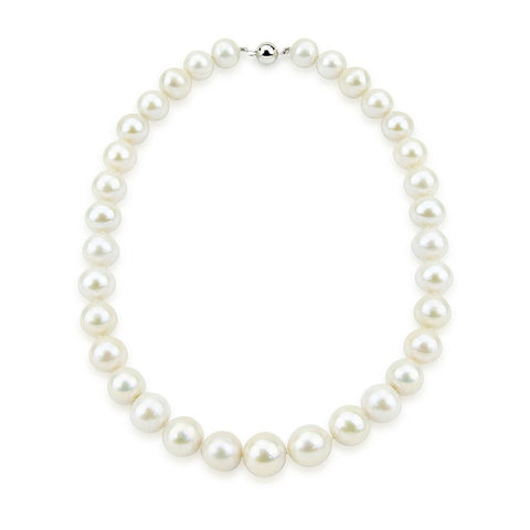 14K White Gold 11-14mm White Freshwater Cultured Pearl Necklace 18 Inches