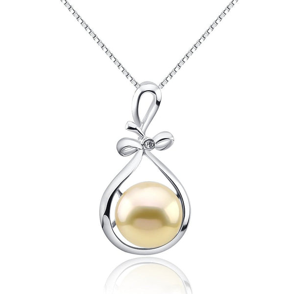 Fascinating Color 12-13mm Golden Peach Freshwater Cultured Pearl Pendant, Sterling Silver Ribbon Style