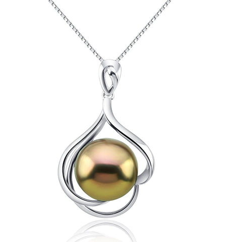 Fascinating Color 12-13mm Magic Purple with Golden tone Freshwater Cultured Pearl Pendant-Sterling Silver