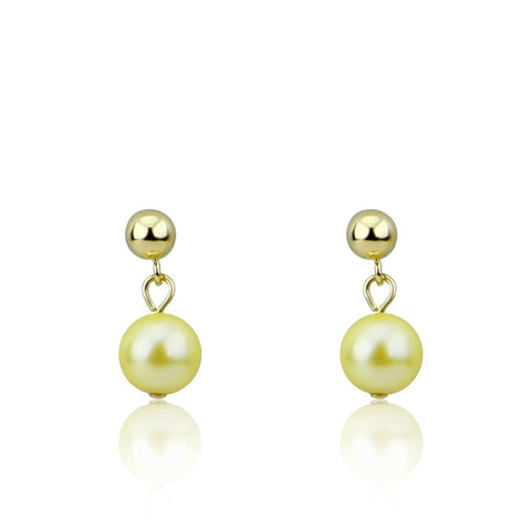 7.0-7.5mm Golden Saltwater Akoya Cultured Pearl Drop Earrings with 14K Yellow Gold