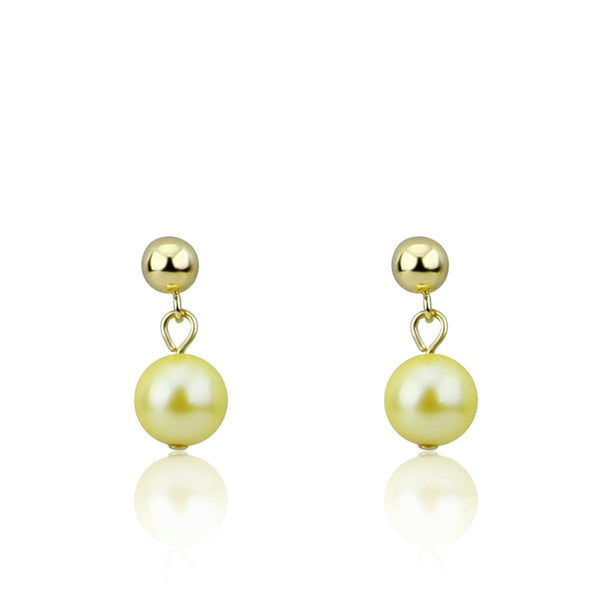 6.0-6.5mm Golden Saltwater Akoya Cultured Pearl Drop Earrings with 14K Yellow Gold