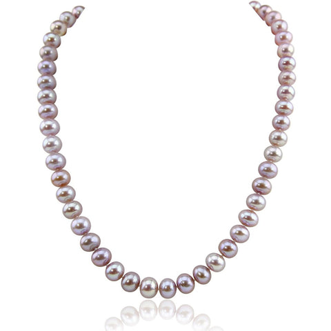 14K White Gold 8.5-9.5 mm Ultra Luster Lavender Freshwater Cultured Pearl necklace 18""