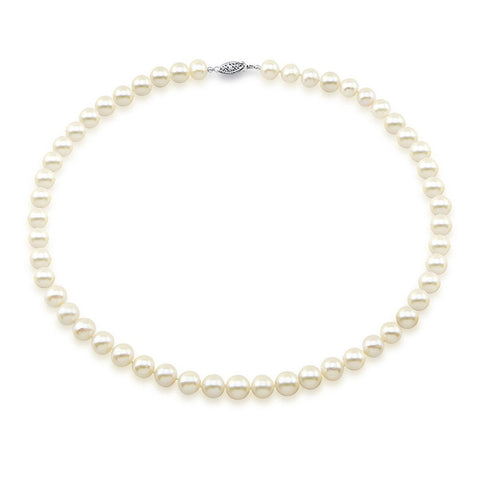 "14k White Gold 7.0-7.5mm White Saltwater Akoya Cultured Pearl High Luster Necklace 18"", AA+ Quality."
