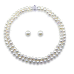 "Sterling Silver 2 Row 8-9mm White Freshwater Cultured Pearl Necklace 17""/18"" and 10-11mm Stud Earring"