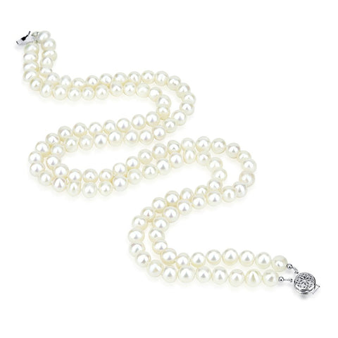 "2 Rows 6.5-7.5mm White Freshwater Cultured Pearl Necklace 17""-18"" Length."