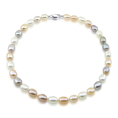 Multi-Color Rice Freshwater Cultured Pearl Necklace 9-10mm pearls, 18 inches
