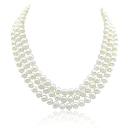 "3-row White A Grade Freshwater Cultured Pearl Necklace (6.5-7.5mm), 16.5"", 17""/18"""