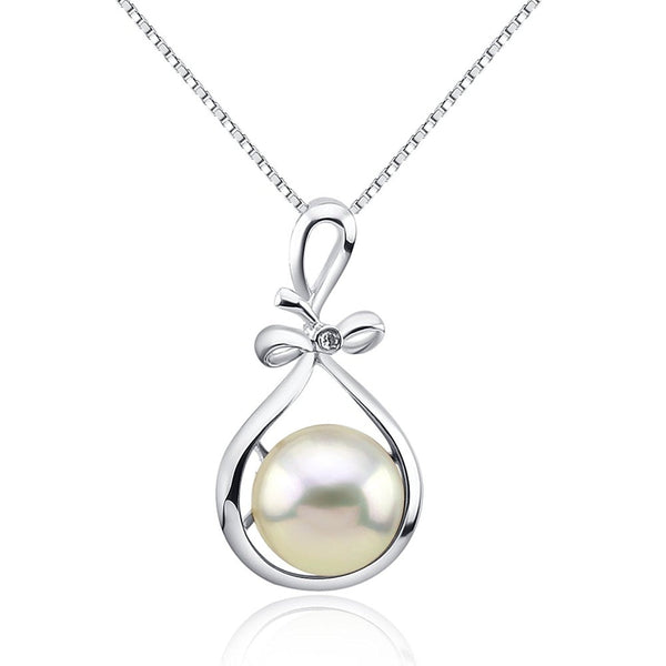 Fascinating Color 12-13mm White Freshwater Cultured Pearl Pendant- Sterling Silver Ribbon Style