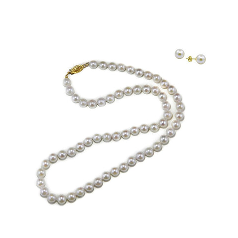 "14k Yellow Gold AAA 6.5-7.0mm White Akoya Cultured Pearl High Luster Necklace 18"", with Stud Earring sets"