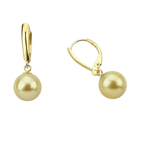 14k Yellow Gold 9.0-10.0mm Golden South Sea Cultured Pearl Lever-back Earrings- AAA Quality