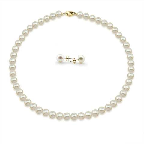 "14K Yellow Gold 8.0-9.0 mm High Luster White Freshwater Cultured Pearl Necklace, Earrings Set, 18"" Length"