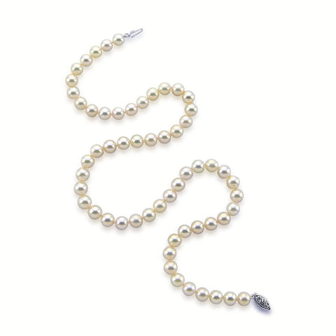 "14k White Gold 7.5-8.0mm White Akoya Cultured Pearl High Luster Necklace 18"", AA+ Quality."