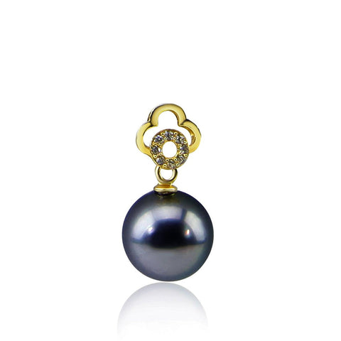 9.0-10.0 mm Elegant Dark Grey Tahitian Cultured Pearl Yellow-gold-flashed-silver Pendant, Pendant Only
