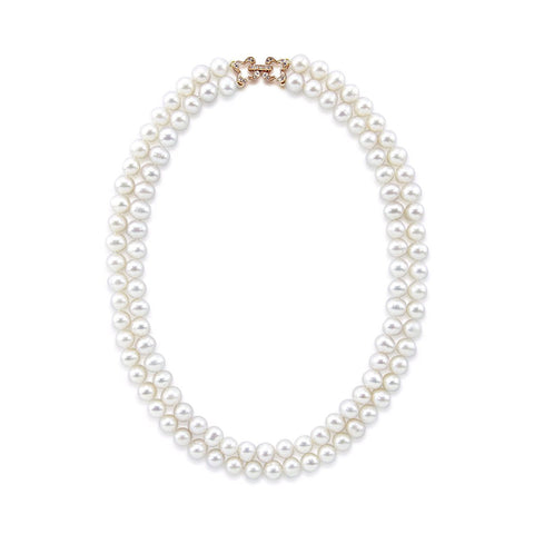 "2 Rows 7.0-7.5 mm White Freshwater Cultured Pearl Necklace 18"",Rose-gold-tone Base Metal Rhinestone Clasp"