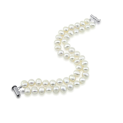 "2 Rows 8.0-9.0mm White Freshwater Cultured Pearl High Luster Bracelet 7.5"" Length"