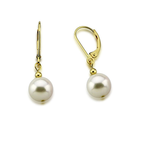14K Yellow Gold 8.5-9.0mm Akoya Cultured Pearl Lever back Earrings-02
