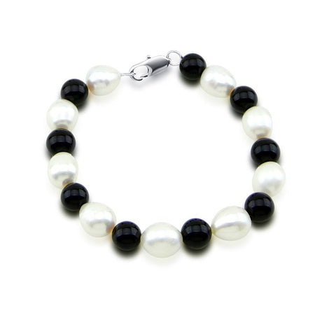 Classic 9-10mm White Freshwater Cultured Pearl & Black Onyx Bracelet,7.5""
