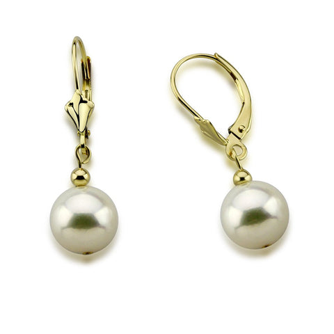 14K Yellow Gold 8.5-9.0mm Akoya Cultured Pearl Lever Back Earrings 01