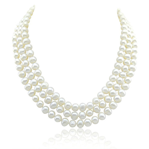 3-row Bridal Wedding 6.5-7.5mm White Freshwater Cultured Pearl Necklace 17/17.5/18.5""