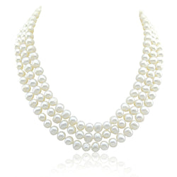 3-row White A Grade Freshwater Cultured Pearl Necklace (6.5-7.5 mm) With Base Metal Clasp, 19/20/21""