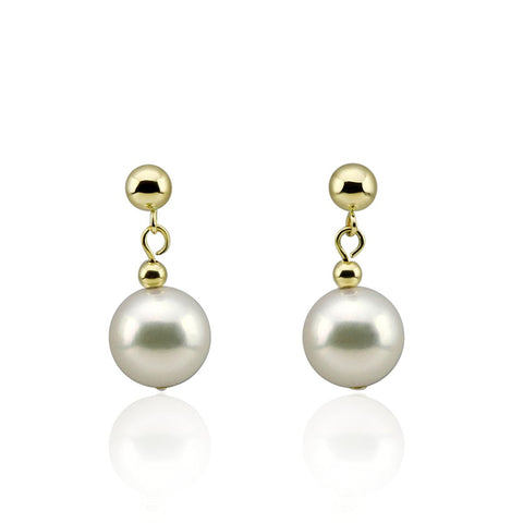 14K Yellow Gold 8.5-9.0mm Akoya Cultured Pearl Drop Earrings