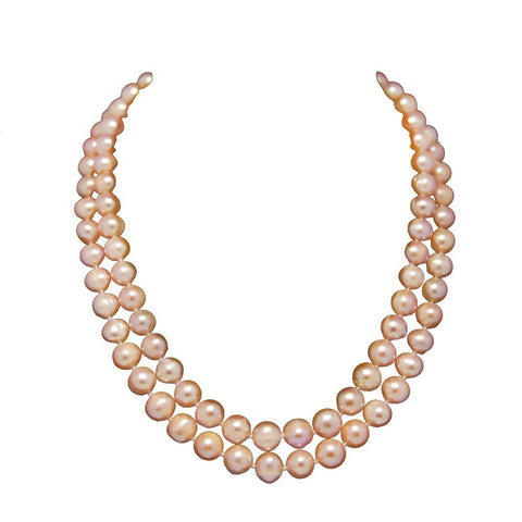 "2-row Pink A Grade Freshwater Cultured Pearl Necklace(9.0-10.0mm), 17"", 18.5"""