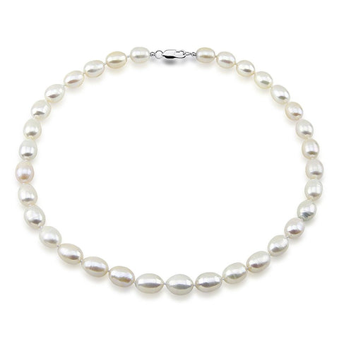 9-10mm Rice White Freshwater Cultured Pearl Necklace, 18 inches