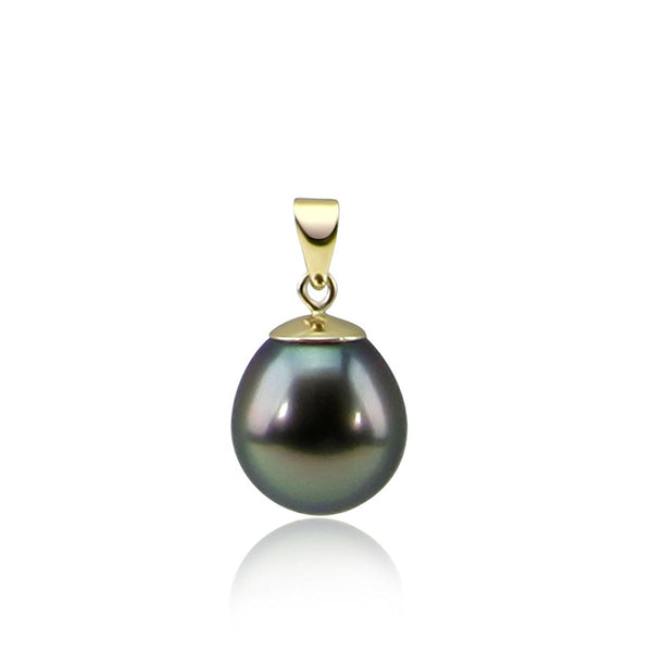 14K Yellow Gold 10.0-11.0 mm Tahitian Cultured Pearl Pendant, Pendant Only