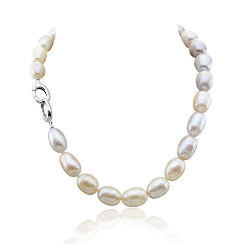 Multi-Color Rice Freshwater Cultured Pearl Necklace 11-14mm, 18 Inch
