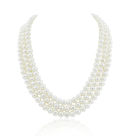 "Pearlpro 3-Row White A Grade Freshwater Cultured Pearl Necklace with Mother of Pearl Clasp (6.5-7.5mm), 17"", 18"", 18.5"""