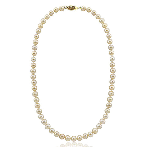 Pink Freshwater Cultured Pearl Necklace A Quality (6.5-7.0mm), 20 inch With base metal Clasp