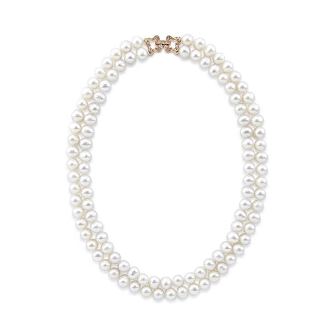 "2 Rows 7.0-7.5 mm White Freshwater Cultured Pearl Necklace 17"",Rose-gold-tone Base Metal Rhinestone Clasp"