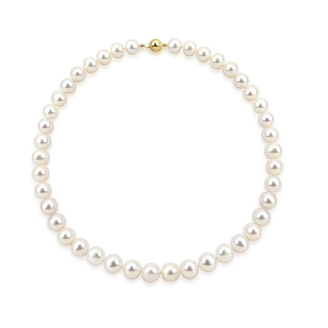 "14k Yellow Gold 9.5-10.5 mm Freshwater Cultured Pearl High Luster Necklace 18"", AAA Quality."
