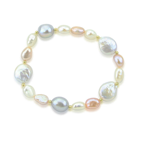Multi Color Baroque Freshwater Cultured Pearl Bracelet 7.5""