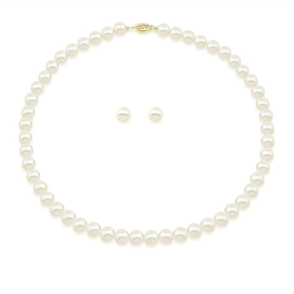 "14K Yellow Gold 7.0-8.0mm White Freshwater Cultured Pearl Necklace, Earrings Set, 18"" Length AAA Quality"