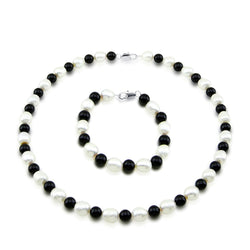 "Classic 9-10mm White Freshwater Cultured Pearl and Black Onyx Necklace 18"", Bracelet 7.5"" Set"
