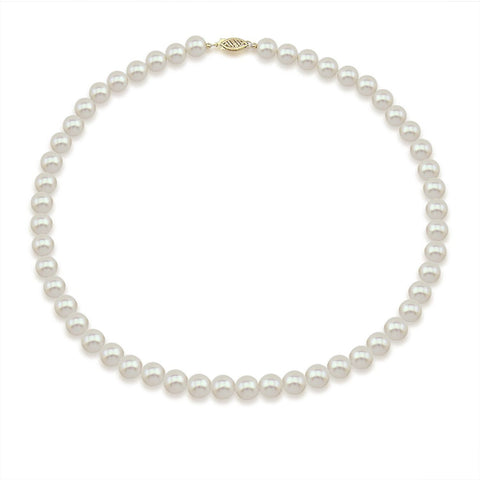 "14k Yellow Gold 6.5-7.0mm High Luster White with Ivory Tone Akoya Cultured Pearl Necklace 18"" AAA Quality"