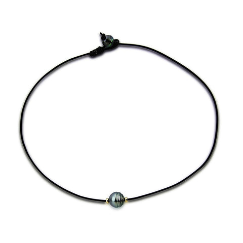 10.0-13.0 mm 14K Gold High Luster Baroque Tahitian Cultured Pearl necklace with Leather,16""