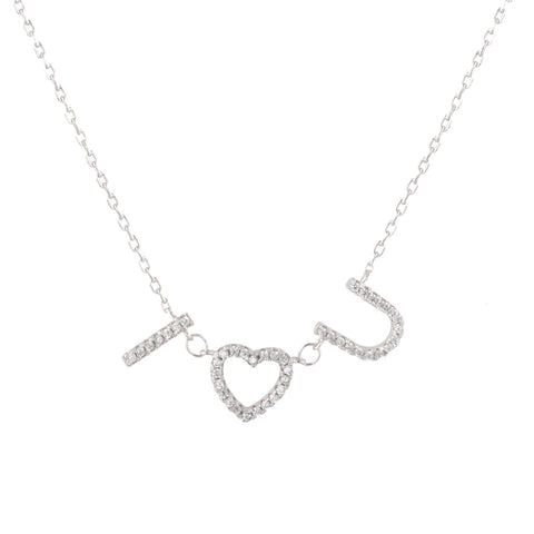 Sterling Silver Cubic Zirconia Pave I LOVE YOU Necklace 18 Inches