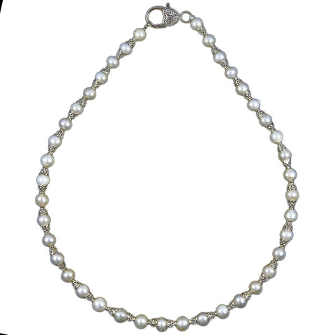 MarieAnt White 6.5-7.5mm A Freshwater Cultured Pearl necklace 18inches