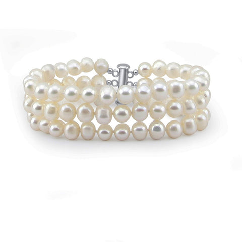 3-Row White A Grade 7.5-8.0mm Freshwater Cultured Pearl Bracelet,7.5""