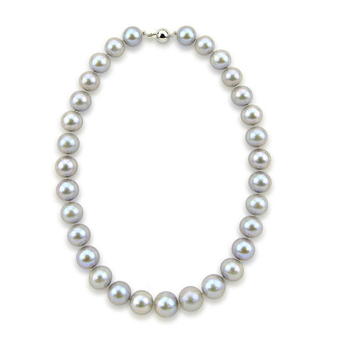 14K White Gold 11-14mm Grey Freshwater Cultured Pearl Necklace 20 Inches