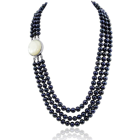 "3-row 6.5-7.5mm Black Freshwater Cultured Pearl Necklace Mother-of-Pearl base metal Clasp 17.5"",18.5""/20"""