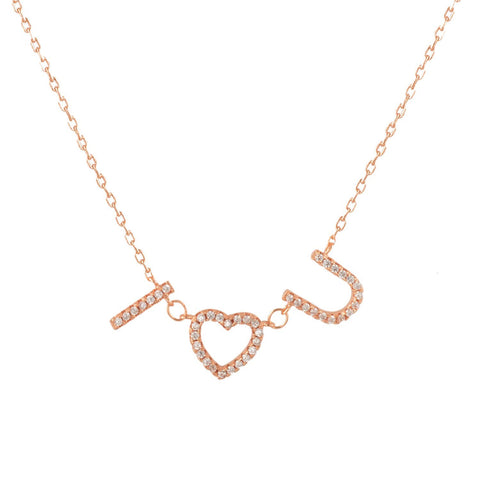Sterling Silver Cubic Zirconia Pave I LOVE YOU Necklace 18 Inches- Rose-gold-flashed Silver