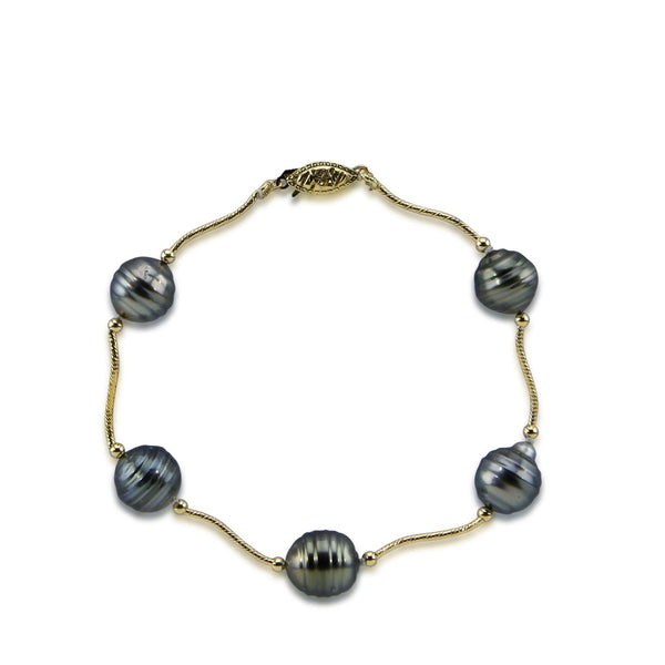"14K Yellow Gold 10.0-11.0mm Tahitian Cultured Pearl and 14K gold beads Bracelet 8.0"" Length"