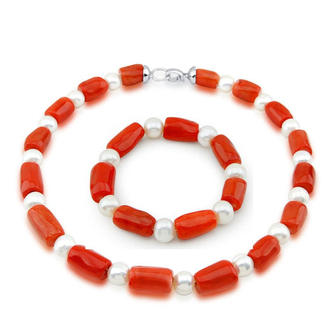 "10-11mm Freshwater Cultured Pearl and Red Coral necklace 18"" & Bracelet 7.5"" Sets"
