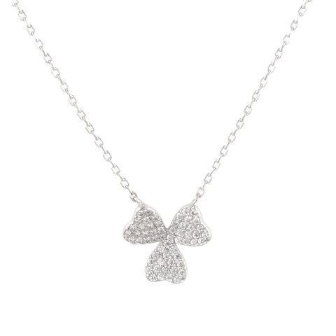"Sterling Silver Cubic Zirconia Pave Sterling Silver Three Leaf Clover Good Luck Pendant With 18"" Chain"