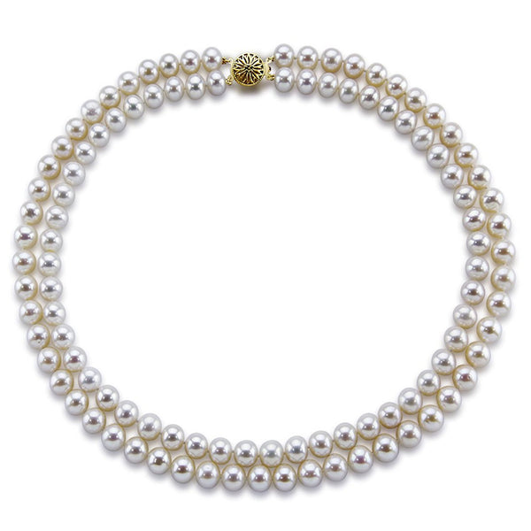 14k Gold Double Strand 8.0-9.0mm White Freshwater Cultured Pearl Necklace AAA Quality 18 Inches